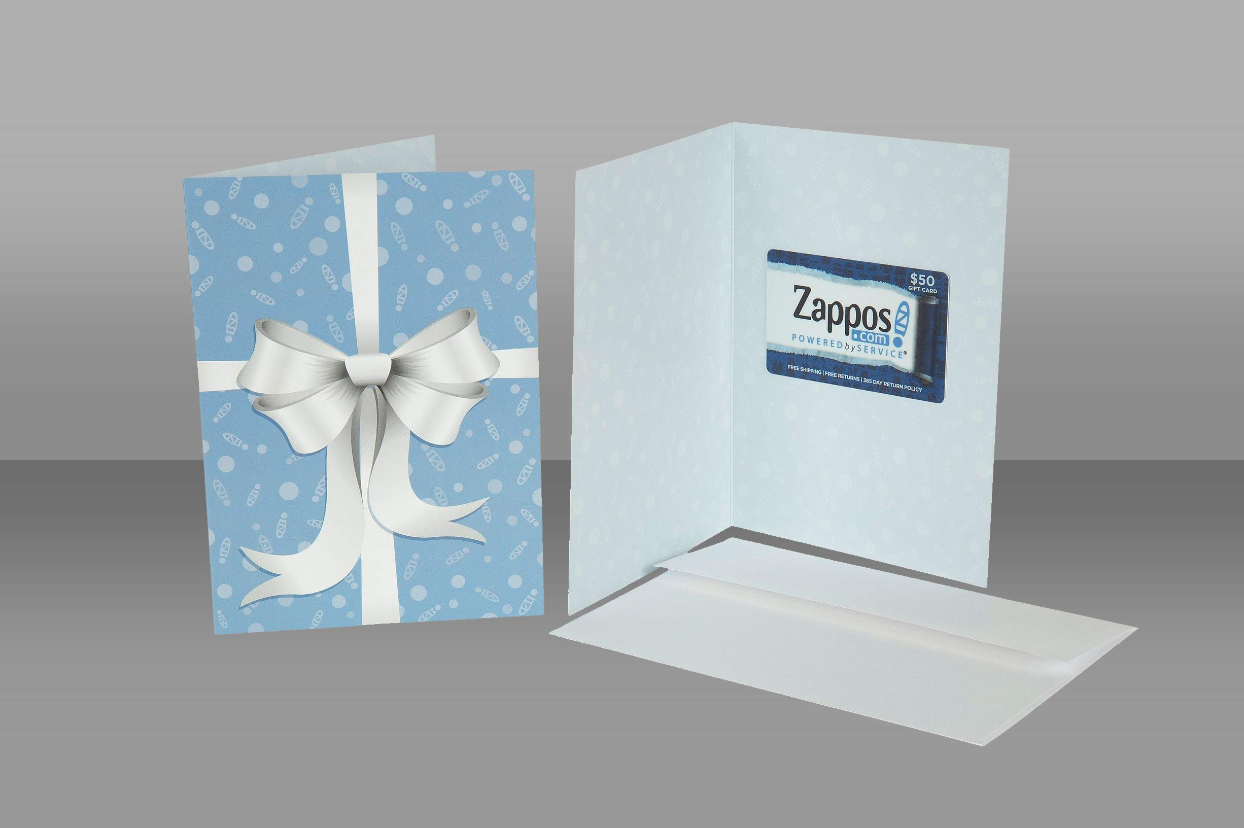 Image for a Zappos Gift Card inside of a Blue and White Ribbon Design Card