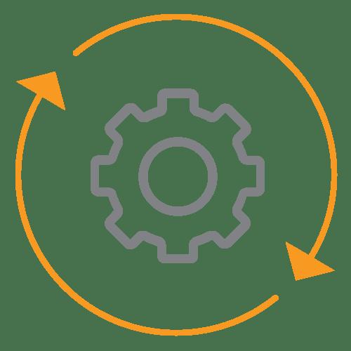 Cogwheel within two circular arrows
