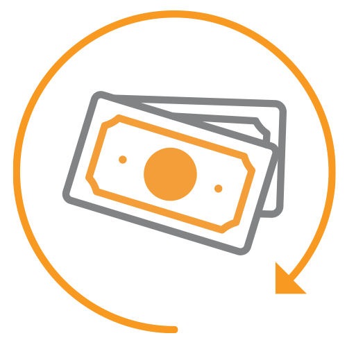 Money within rotating arrow