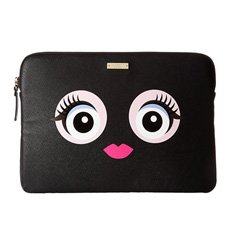 Image of a black laptop case with a face