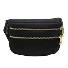 Image of black fanny pack with gold zippers