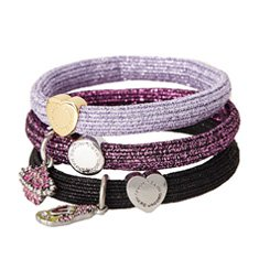 Image of a 3-pack of hair ties with heart charms