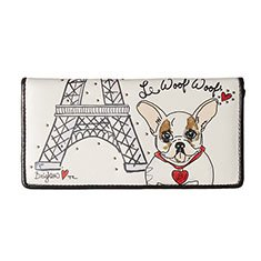 Image of a white wallet with a dog on the front