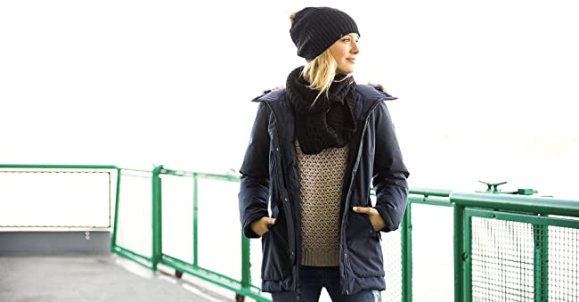 Image of a woman wearing winter clothes.