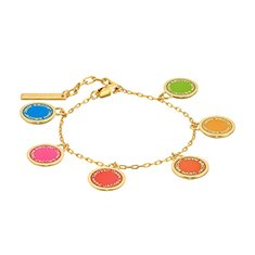 Image of a gold bracelet with colorful charms on it.