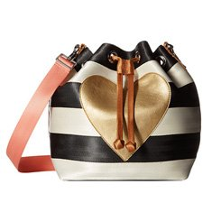Image of a striped bucket bag with a gold heart