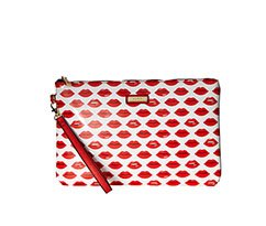 Image of a white clutch covered in red lips