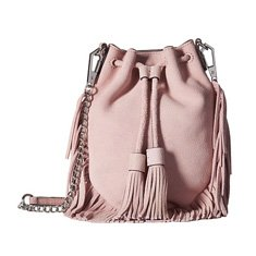 Image of a light pink bucket bag