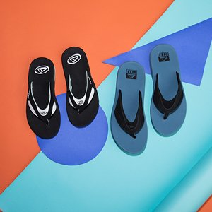 Image of blue and black sandals.