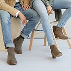 Man and woman wearing booties