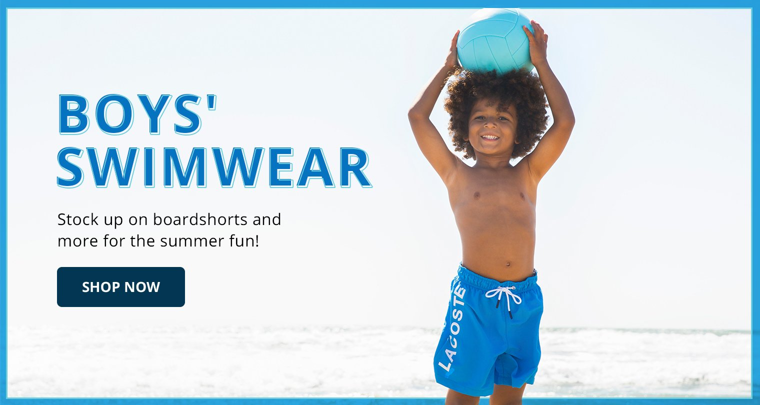 Boys' Swimwear. Stock up on boardshorts and more for the summer fun! Shop now.