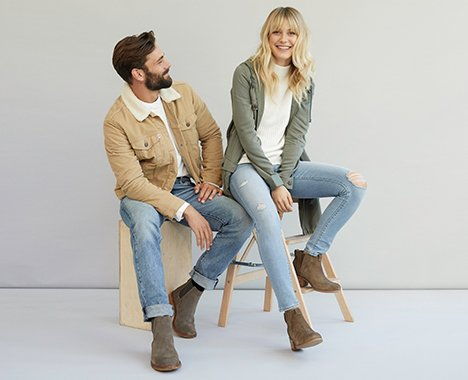 Image of man and woman wearing Clarks Footwear.