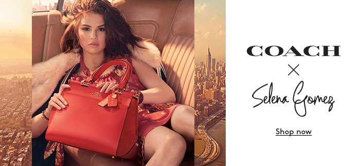 Clickable image of Selena Gomez holding a red Coach bag.