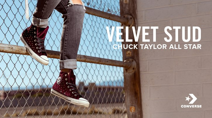 Shop all Chuck Taylor's. Image of red velvet hi-top converse.