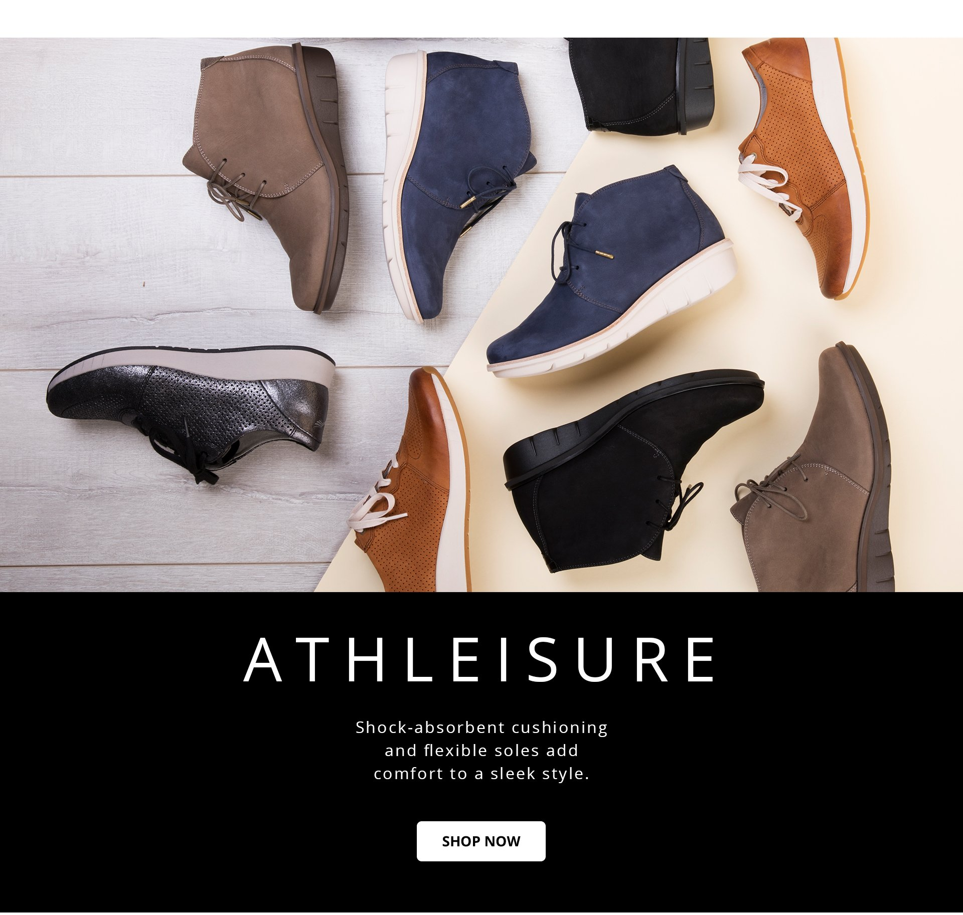 Athleisure: Shock-absorbent cushioning and flexible soles add comfort to a sleek style.
