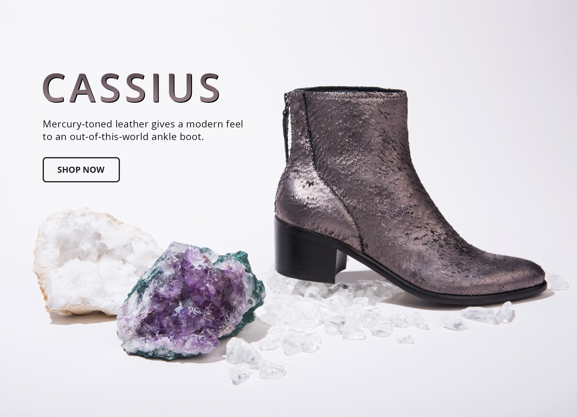 Cassius. Mercury-toned leather gives a modern feel to an out-of-this-world ankle boot. Shop Now.