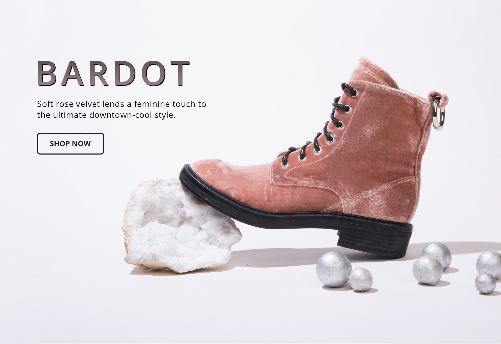 Bardot. Soft rose velvet lends a feminine touch to the ultimate downtown-cool style.