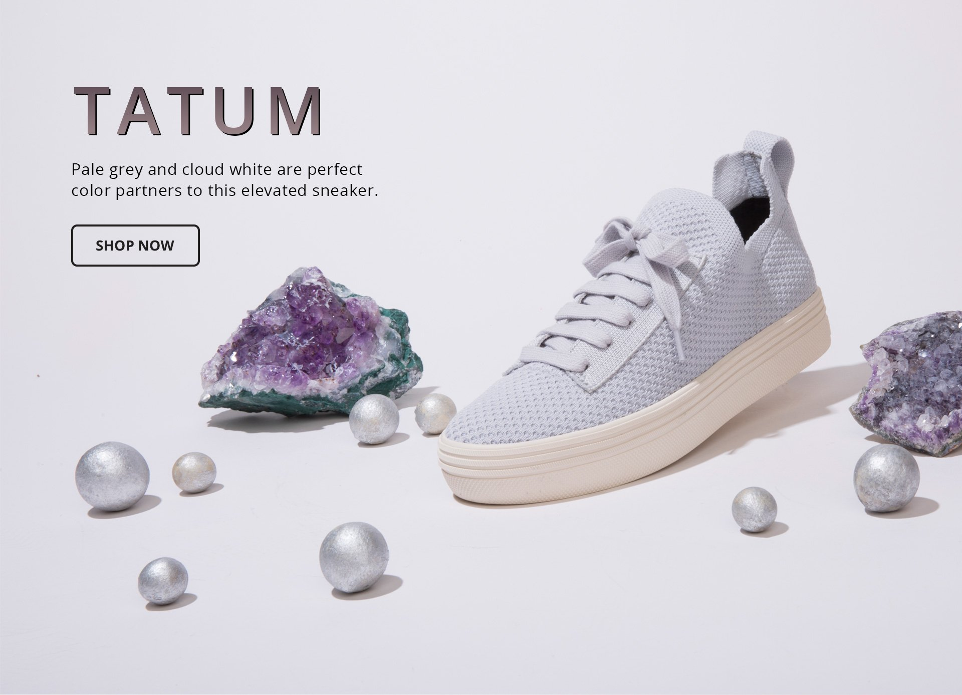 Tatum. Pale grey and cloud white are perfect color partners to this elevated sneaker. Shop Now.