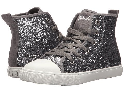 Girls Silver Glitter High Top Sneakers