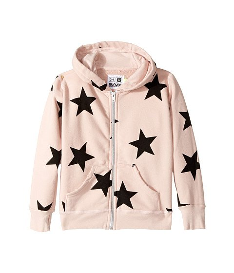 Girls Pink with Black Stars Zip Up Hoodie