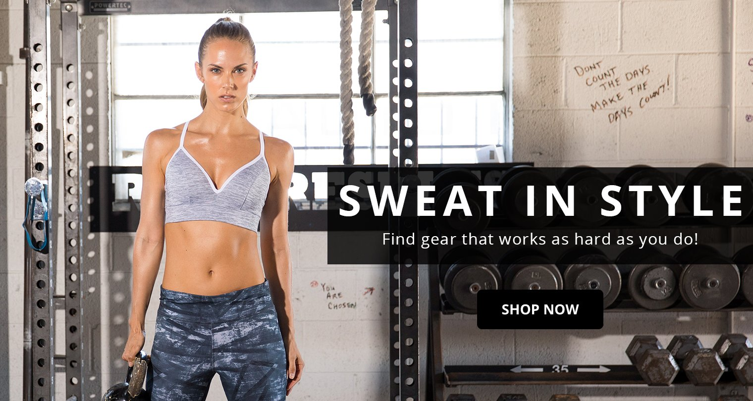 Sweat in style with clothing and footwear that works as hard as you do!