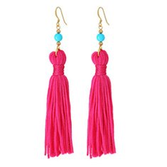 Image of pink fringe earrings