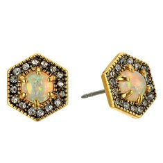 Image of gold studs with rhinestones