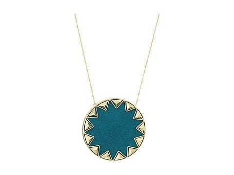 Image of a teal and gold starburst necklace