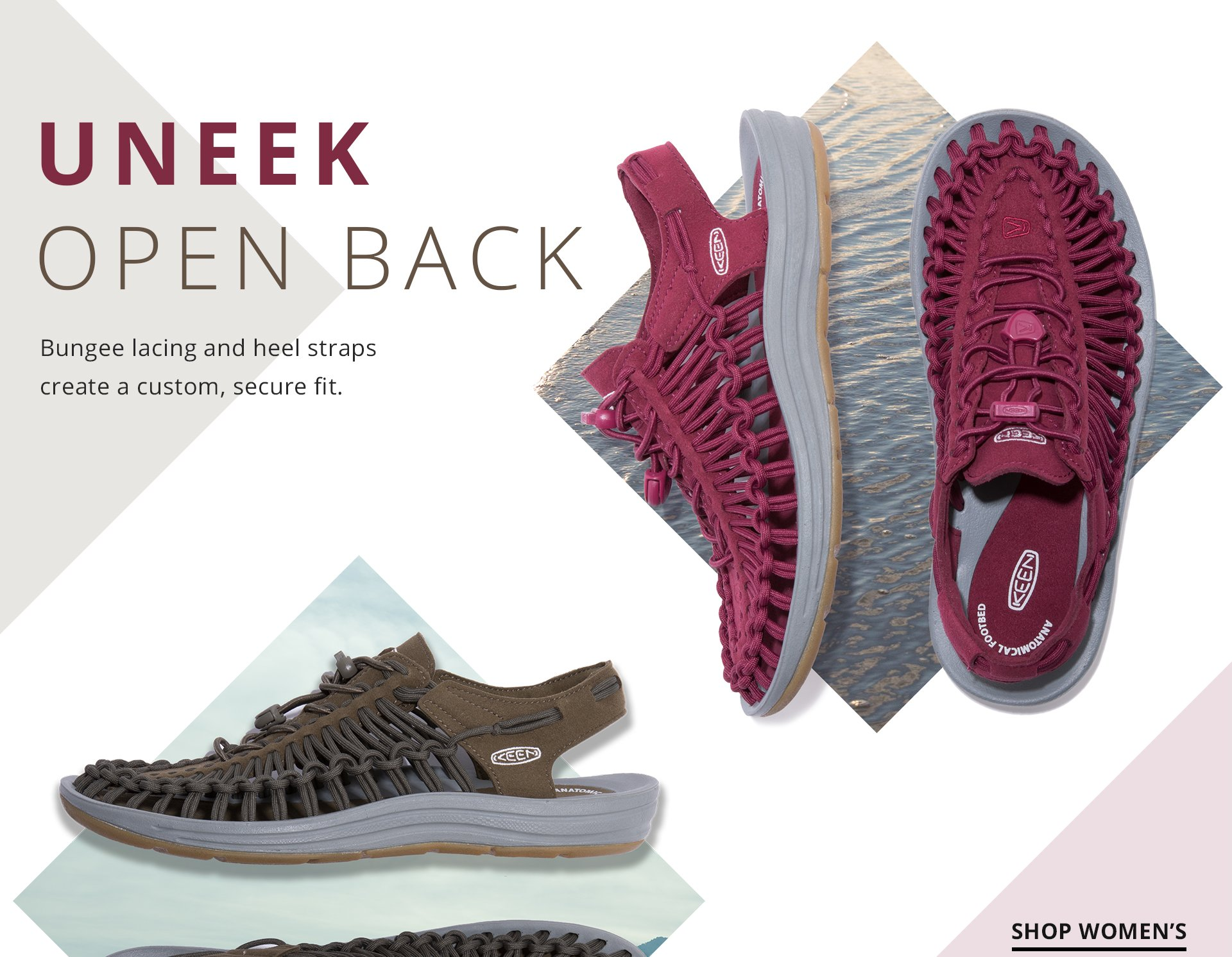 Uneek Open Back.Bungee lacing and heel straps create a custom, secure fit. Shop women.