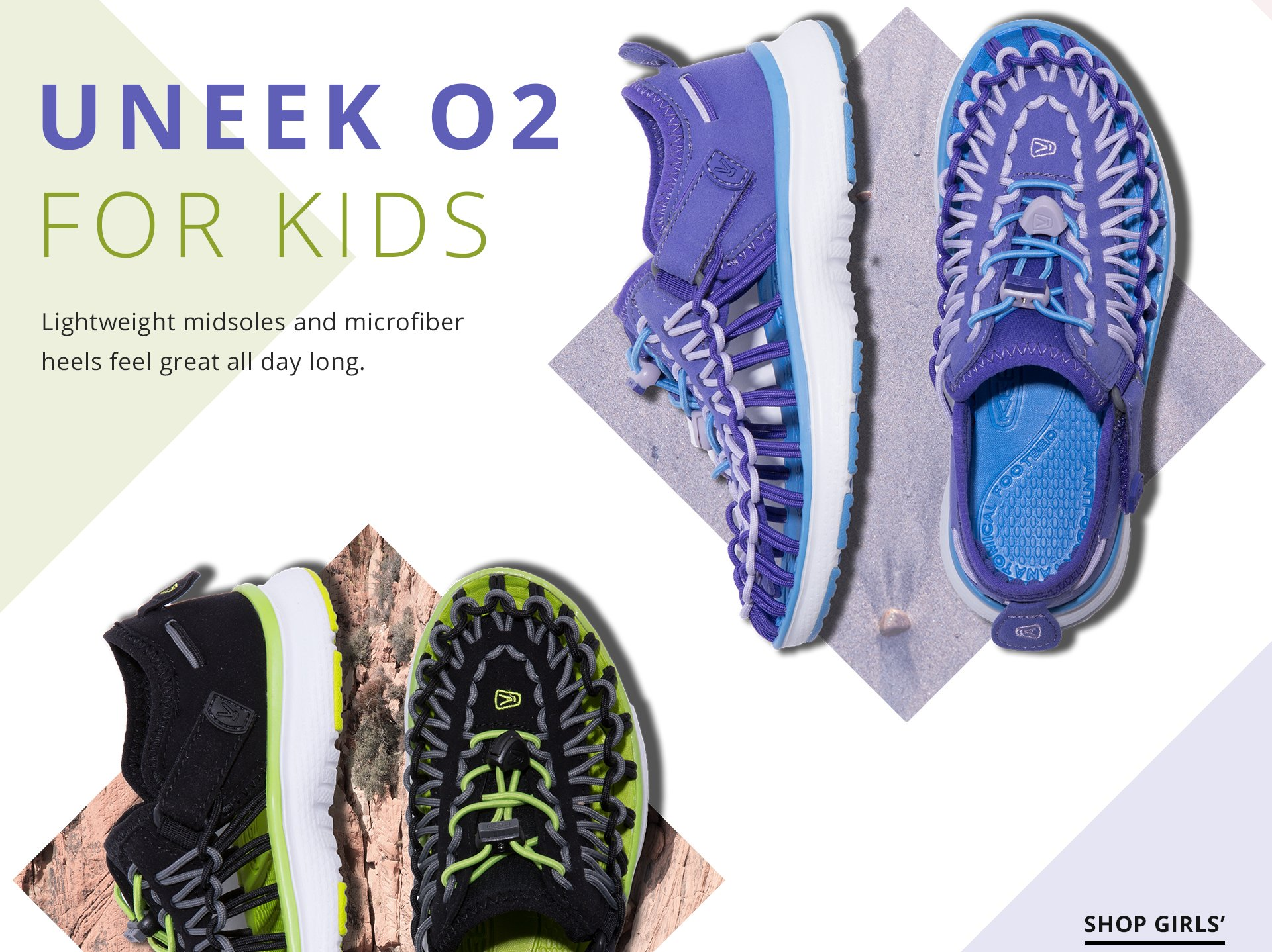 Uneek 02 for kids. Lightweight midsoles and microfiber heels feel great all day long.