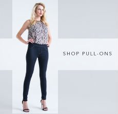 cp-2-pull-ons-2017-02-22 Shop pull-on jeans. Image of a women wearing pull-on jeans.