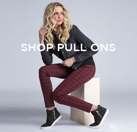 cp-1-pull-ons-2017-08-30 Shop Pull-ons. Image of women in plaid pants and a leather jacket.