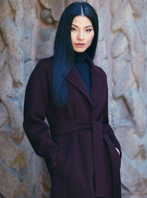 Woman wearing fall coat