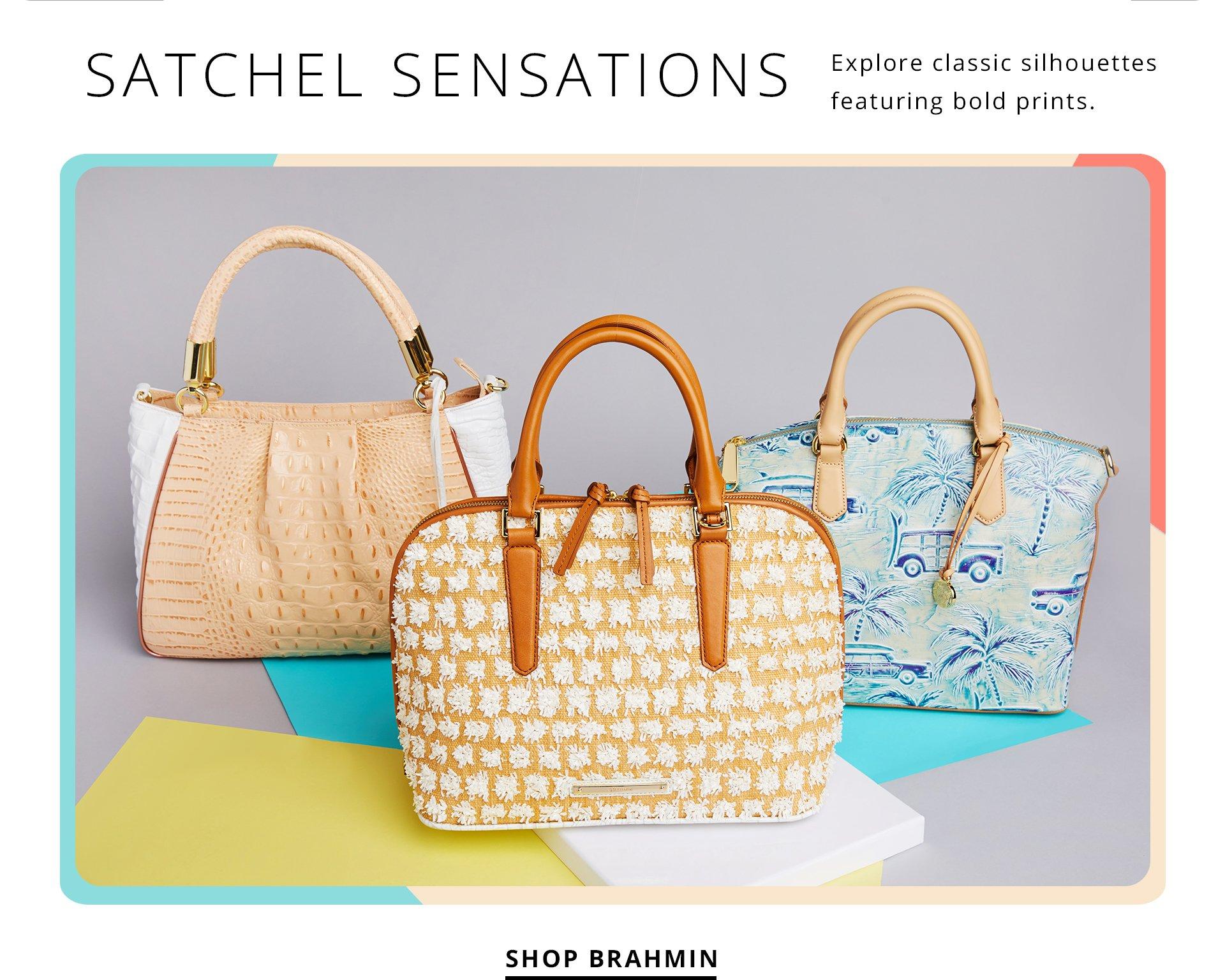 Satchel Sensations. Explore Classic silhouettes featuring bold prints. Shop Brahmin.