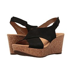 Image of a black wedge sandals