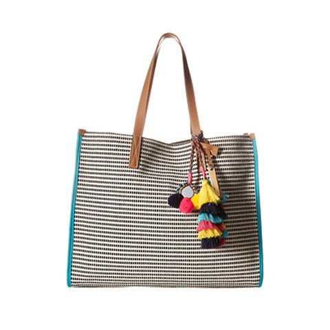 Image of striped beach tote.