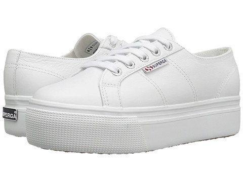 Image of white Supergas with a platform sole