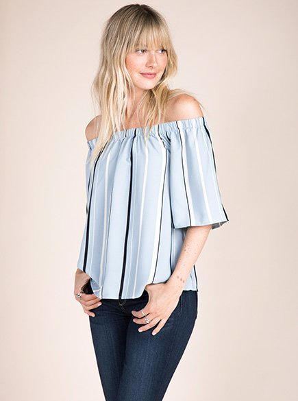 Off-the-shoulder tops.