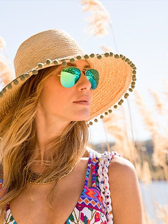 Summer Essentials. Woman wearing sunglasses and a hat.
