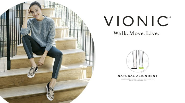 Vionic. Walk.Move.Live. Natural Alignment.Elevated Support Shop the collection. Image of  a woman wearing animal print flats
