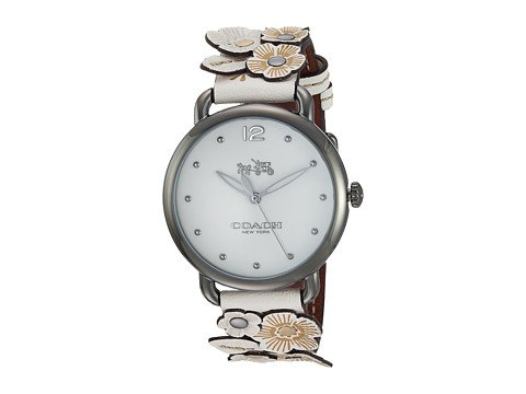 cp-1-07-5-2017 Shop Coach Watches. Image of a white watch with floral embellishments.