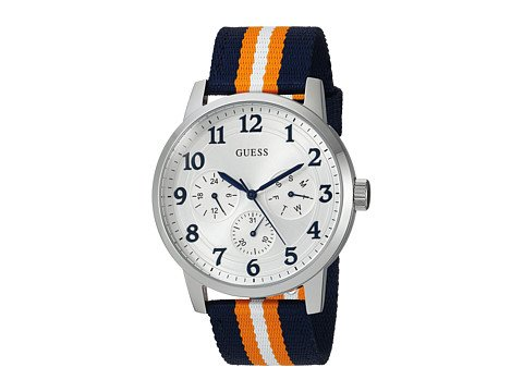 cp-2-04-03-2017 Shop Guess Watches. Image of navy and yellow striped watch.