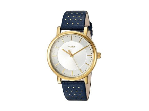 CP-3-04-03-2017 Shop Timex Watches. Image of a blue Timex watch gold dot embellishments.