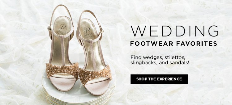 Wedding footwear favorites. Find wedges, stilettos, slingbacks, and sandals!
