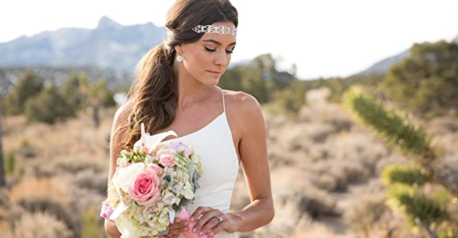 Image of Bride in Crystal Beaded Headband and White Wedding Dress. Links to bridal heels and dresses.