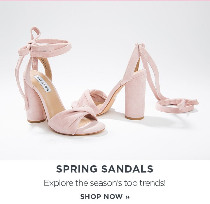 Spring sandals. Explore the seasons top trends! Shop now. Image of pink velvet heeled sandals.
