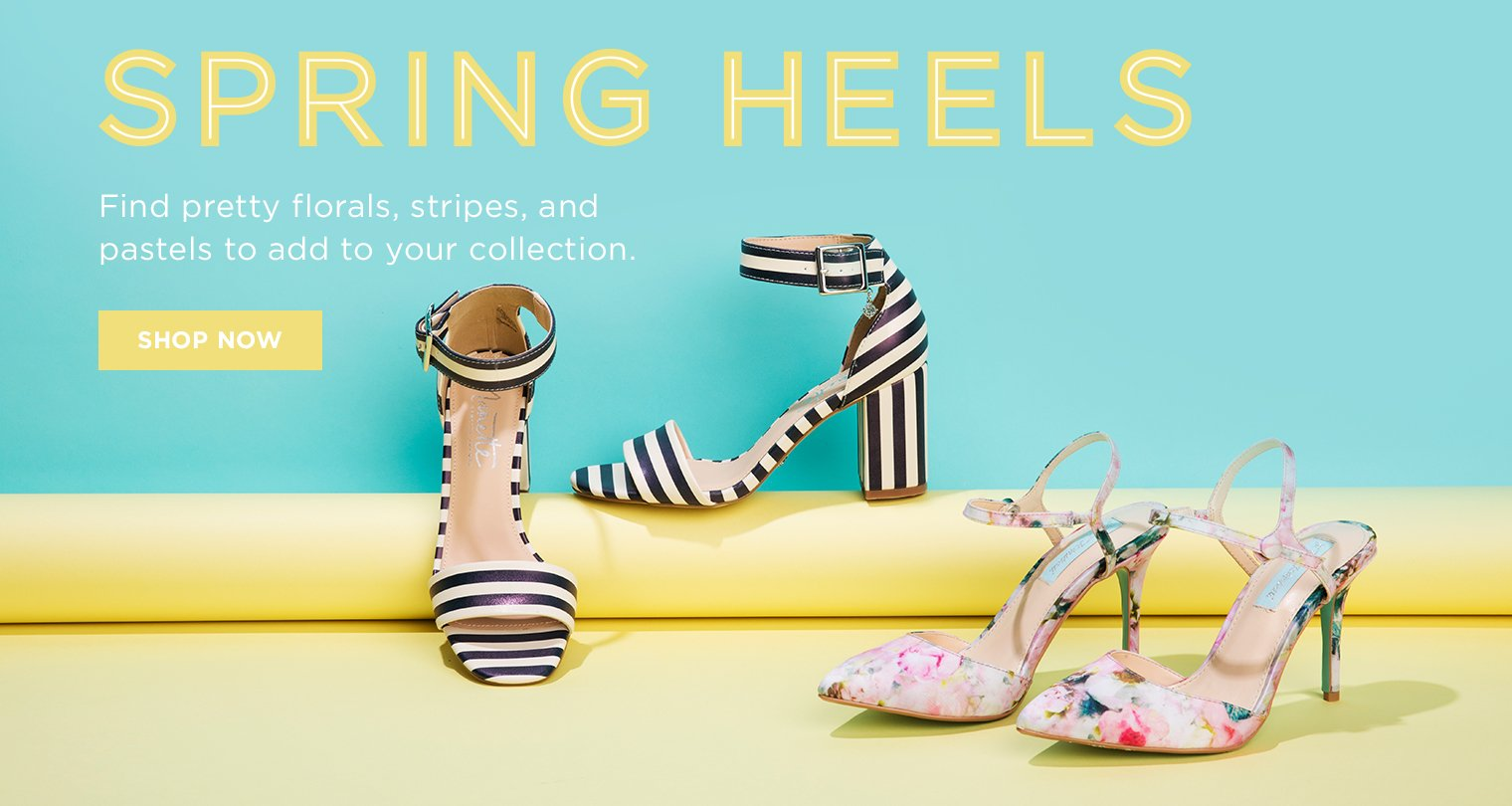 Spring Heels. Find pretty florals, stripes, and pastels to add to your collection.