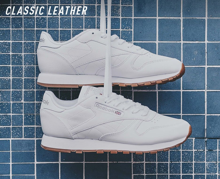 Image of a pair of white Reebok Classics