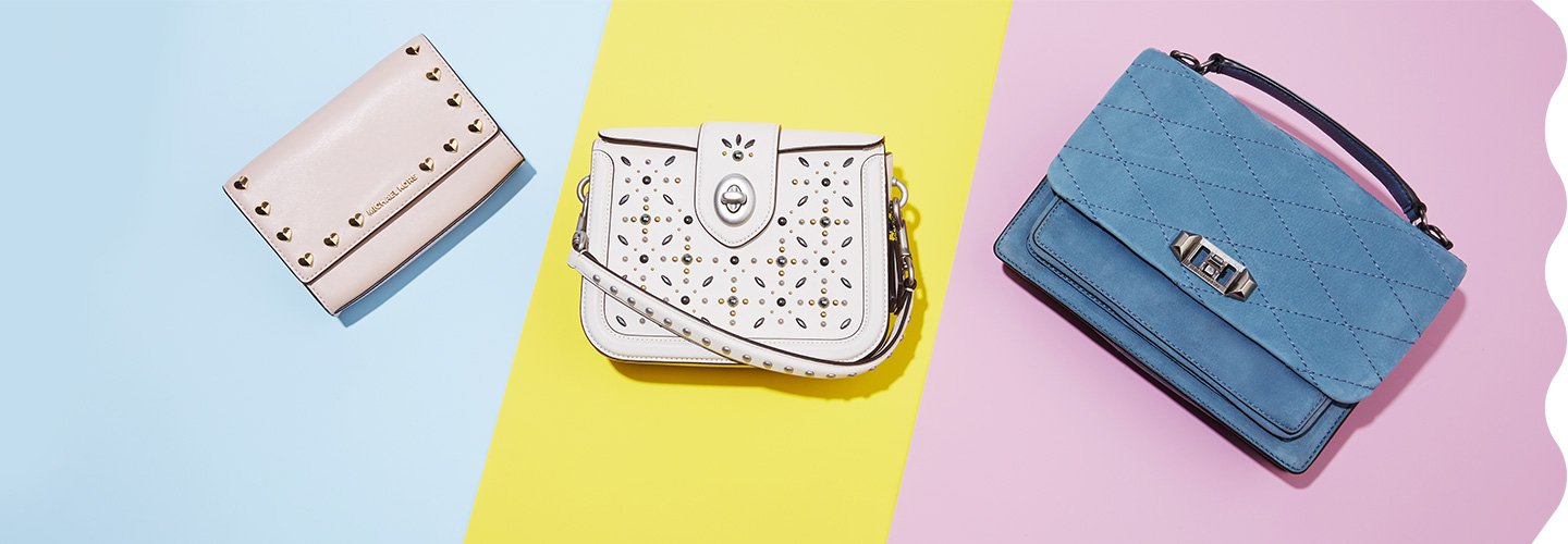 Clickable image of 3 handbags on a colorful background