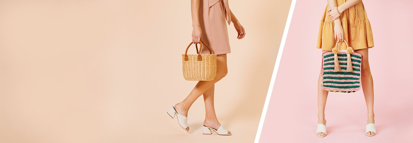 Clickable image of a woman carrying a straw woven bag.